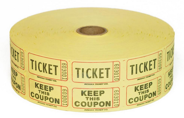 Casino Supply Raffle Tickets: Red, 2000 Double Stub Raffle Tickets
