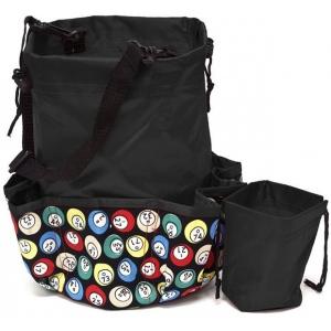 Casino Supply 10 Pocket Bingo Ball Designer Bag with Coin Purse: Black