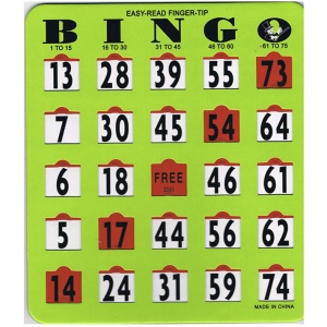 Casino Supply Bingo Easy Read Shutter Slide Cards: Green Card / Red Tabs