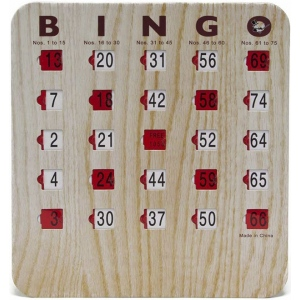 Casino Supply Bingo Shutter Slide Cards: 5 Ply Wood Grain Finish