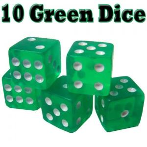 10 Green Dice - 16 mm