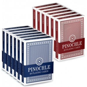12 Pack of Pinochle Playing Cards (6 Red/6 Blue)