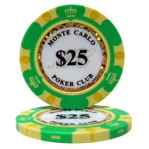 Roll of 25 - $25 Monte Carlo 14 Gram Poker Chips