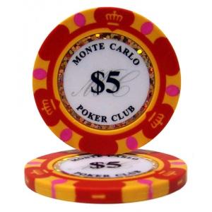 Roll of 25 - $5 Monte Carlo 14 Gram Poker Chips
