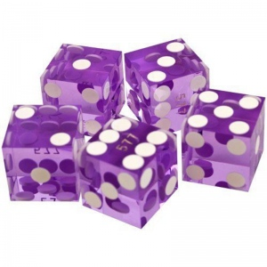 Casino Supply New Casino Dice: Purple, Serialized, 3/4 Inch, Set of 5
