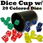 Synthetic Leather Dice Cup with 20 Colored Dice