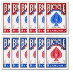 12 Bicycle Poker Size Standard Index - Red/Blue